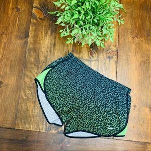 Nike Dri Fit lime green & black running shorts